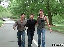 Johnny Rapid, Rafael Alencar, Sergeant Miles, Travis Stevens in I'm Leaving You Part 5 - JizzOrgy
