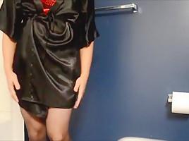 Satin black robe small cock sissy