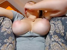college girl with big natural boobs tits jiggling vibrator in pussy