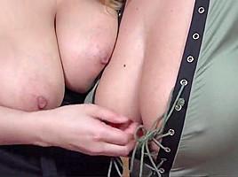 Lesbian breast adoration and lactation