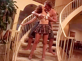 Turned-on Couple Bangs On The Stairs