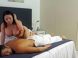 Busty asian body massage
