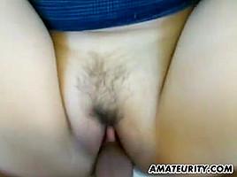 FFM amateur interracial threesome with cum on ass