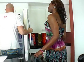 Ebony Tgirl Chanel Couture bangs her lovers ass in interracial sex
