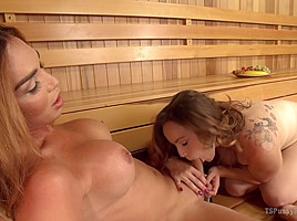 Sauna Strangers fuck and do a Nasty CreamPie