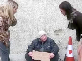 three cuties assist a homeless boyfrend