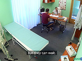 Adam in Brunette in tight fit nurse outfit fucks her patient - FakeHospital
