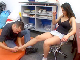 Femdom bitches in foot fetish action with their serfs