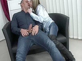 Sexy party fuck in jeans and boots