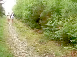 two matures give hand-blow job to a stranger in the woods