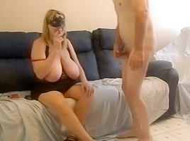 Amateur in mask toying dick